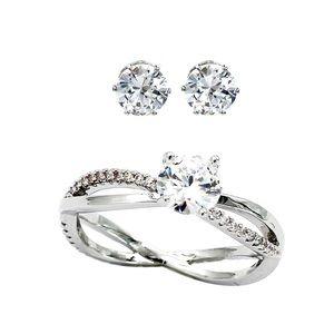 Shining crystal earrings ring set